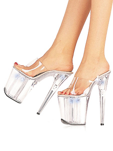 Mulheres Sexy Shoes Transparente Plataforma Aberta Toe Stiletto Heel Sandália Chinelos Sandálias de Salto Alto