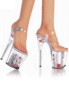 المرأة مثير أحذية شفافة منصة مفتوحة تو إبزيم التفاصيل المتعرية أحذية عالية الكعب الصنادل
