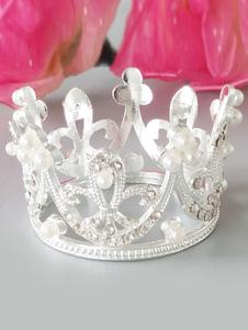 Coroas de casamento de prata pérola strass headpieces acessórios de cabelo nupcial