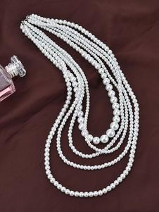 Шарльстон Flapper Ожерелье Gatsby Костюм Аксессуары Жемчуг Урожай 1920-х годов Стиль Белый Женщины Ретро Ювелирные изделия