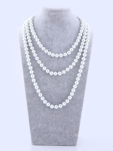 Disfraz Carnaval Collar De Perlas Blanco Gatsby Charleston Accesorios De Disfraz Vintage 1920'S Carnaval