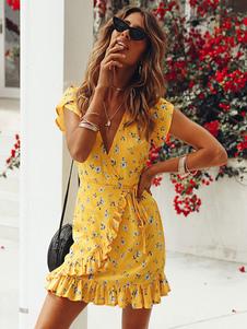 Abito estivo floreale Donna 2020 Abito da sera con scollo a V Increspature Maniche corte Mini abito giallo