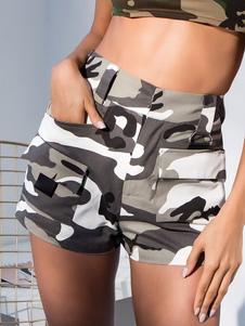 Женские шорты с карманами из хлопка с высокой талией