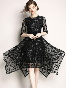 فستان نسائي طويل من الدانتيل فستان نصف كم غير منتظم