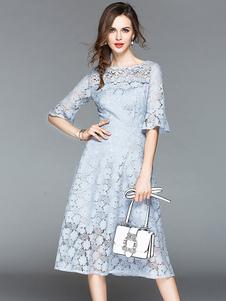 Vestido de renda de verão meia manga em torno do pescoço vestido de cor sólida longo