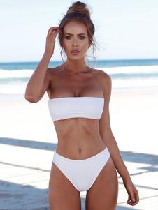 Bikini sexy traje de baño sin tirantes de color sólido Bandeau Bikini