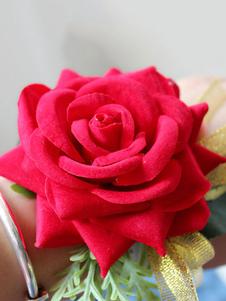 Ramillete de prom Ramillete de muñeca de novia rojo Dama de honor Flores de mano