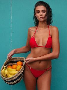 Bikini sexy traje de baño Halter Grommets triángulo Bikini traje de baño