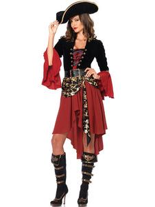 Fantasia de pirata Halloween Borgonha mulheres vestidos conjunto 3 peça