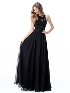 Vestido largo negro  Moda Mujer Color liso sin mangas Vestidos de poliéster muy escotado por detrás de encaje con escote estilo marinero Verano