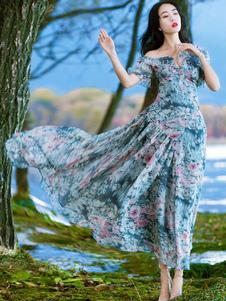 Abito lungo floreale in chiffon Abito da donna asimmetrico con spalle  lunghe Abito estivo b87fa1bc969