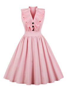 Vestido Vintage 2020 Rosa Com Decote Em V E Plissado Com Botões De Algodão