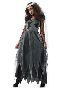 Traje de noiva corpse halloween mulheres negras vestidos véu choker 3 peça