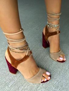 Sandali con tacco alto 2020 Sandali con punta aperta in pelle scamosciata marrone chiaro Sandali donna