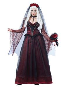 Vampire Costume Halloween Corpse Bride Vermelho Escuro Mulheres Vestidos E Véu