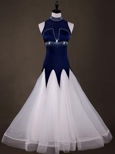 Traje de dança de salão vestidos de manga longa de organza azul profundo traje de dança prática