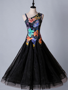 Traje de dança de salão vestidos floral preto mulheres manga longa organza prática traje de dança