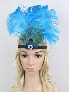 الزعنفة عقال 1920s عظيم غاتسبي ريشة أغطية الرأس الأزرق النساء خمر زي الاكسسوارات هالوين2020