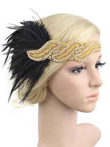 الزعنفة عقال 1920s غاتسبي العظيم حلي الريشة أغطية الرأس النساء الترتر خمر زي الاكسسوارات هالوين2020