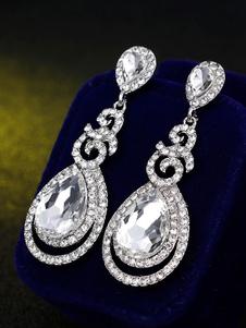 Orecchini pendenti in argento con strass e orecchini pendenti