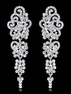 Orecchini pendenti da donna Orecchini pendenti con strass argento