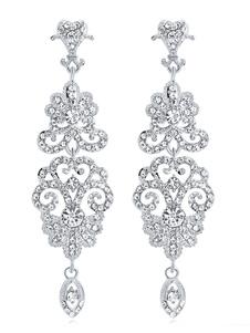 Orecchini pendenti vintage in argento con strass anni '20