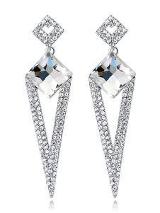 Brincos de gota de declaração de prata strass brincos de casamento brincos formais