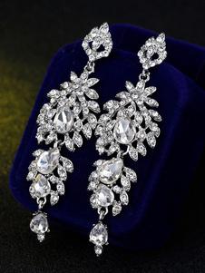 Orecchini pendenti Orecchini da sera Orecchini pendenti in argento con strass