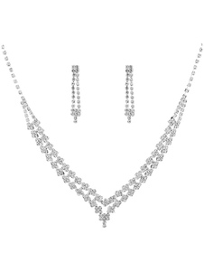 Conjunto de colar de prata strass frisada Alloy nupcial conjunto de jóias de casamento