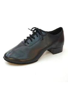 Мужская танцевальная обувь Cowhide Round Toe Lace Up Jazz Dance Shoes Латинская танцевальная обувь