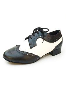 Черные танцевальные туфли Мужчины Круглый Toe Lace Up Jazz Dance Shoes Vintage Shoes