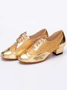 Блестящие бальные туфли Gold Round Toe Lace Up Латинская танцевальная обувь для женщин