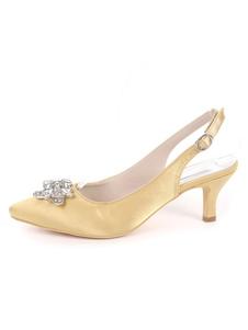 Zapatos de novia de satén Zapatos de Fiesta Rojo orado Zapatos de puntera puntiaguada Zapatos de boda 6cm con pedrería