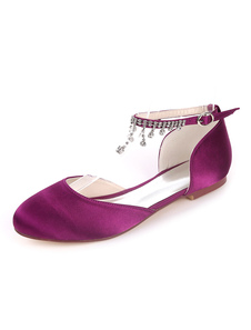 أحذية الزفاف الأبيض الساتان جولة تو أحجار الراين سلسلة أحذية العروسة المسطحة أحذية الزفاف