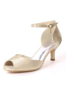 Zapatos de novia de satén Zapatos de Fiesta Color champaña Zapatos de punter Peep Toe Zapatos de boda 6cm con perlas