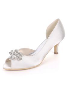 Сатиновые свадебные туфли чернила Blue Peep Toe Rhinestones Mother Shoes Kitten Heel Wedding Guest Shoes