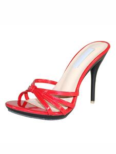 Sandalias de tacón alto Sandalias de tobillo con abertura abierta Sandalias de mujer sin tacón con punta abierta