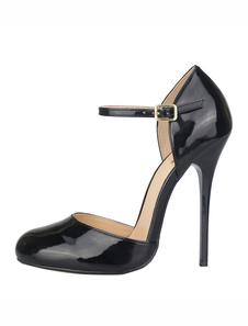Черные сексуальные ботинки Женщины Высокие каблуки Круглые пальцы ноги Пряжка Деталь Stiletto Каблук Сексуальные насосы