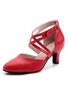 Красная танцевальная обувь Женская бальные туфли с острым носком Criss Cross Buckle Detail Latin Dance Shoes