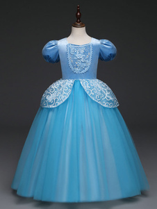Costume Carnevale Flower Girl Dresses Aqua Manica corta Una linea Girls Pageant Dress Bambini Cenerentola Abiti Disney Costume