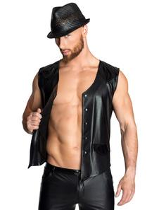 Сексуальный костюм мужчины черный куртка без рукавов PU жилет