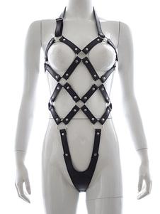 Costume Carnevale Halloween Sexy Body Harness BDSM Black Bandage Straps Donna in pelle Saloon Girl Costume Accessori