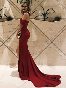 Vestido maxi vermelho fora do vestido de verão ombro vestido de noite dividir sexy