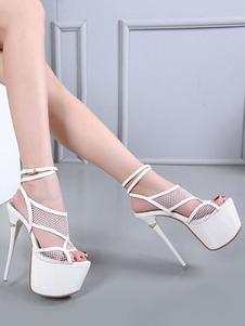 Sapatos 2020 Branco Sexy De Plataforma Dedo Do Pé Aberto Cortar Strappy Sandálias De Salto Alto Mulheres Céu Sexy Sandálias