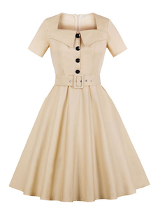 Mulheres Vintage Vestido 2020 De Manga Curta De Algodão Botões Quadrados Pescoço Cinto Damasco Vestido De Verão