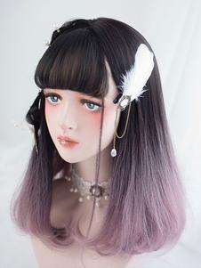 Straight Lolita Wig Blunt Fringe End Curl Layered Ombre Harajuku Lolita Wig
