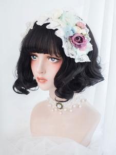 Black Lolita Wig Blunt Bang Full Volume Curl arruffato Short Lolita Wig