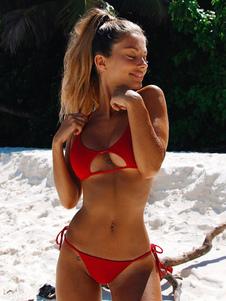 Biquíni sexy swimwear cortar cor sólida copos removíveis biquíni corda