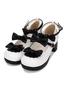 Zapatos Sweet Lolita Bow Strappy Chunky High Heel Deep Brown Lolita Calzado
