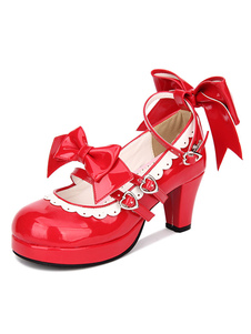 Doce Lolita Sapatos Red Bow Strappy Patente PU Red Lolita Bombas